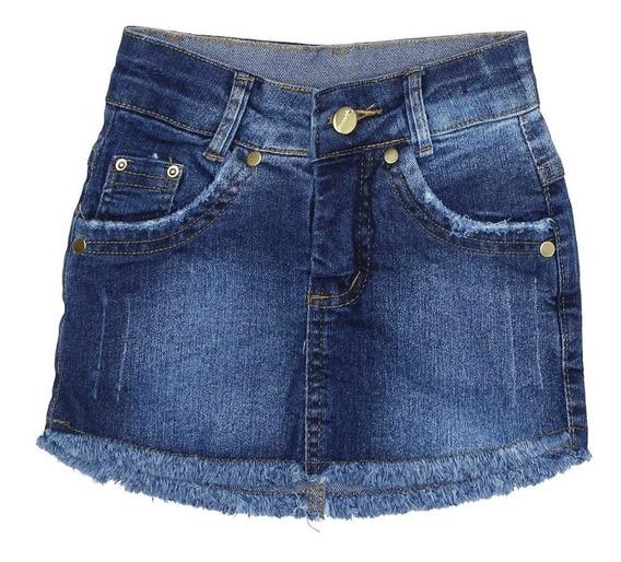 Saia Curta Jeans Infantil Para Menina - Azul