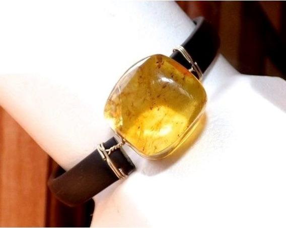 Pulsera De Ámbar Auténtico Y Caucho Negro / Tono Amarillo