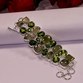 Pulseira Facetada Prateada - Pedras Brilhantes Verdes