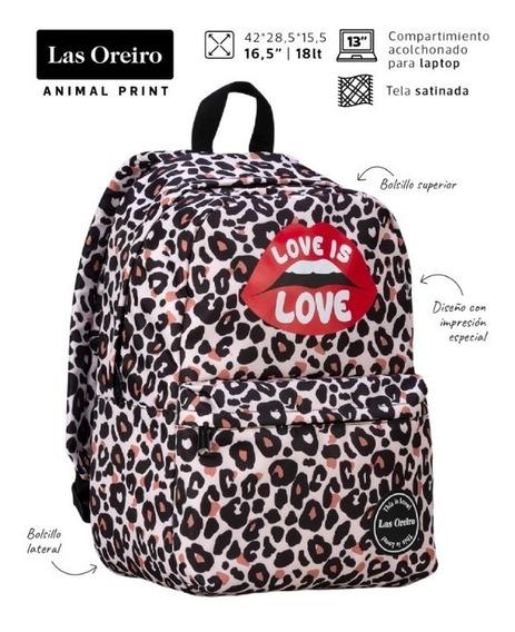 Mochila Las Oreiro Animal Print Baires Espalda Mooving