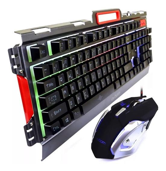Kit Gamer Semi Mecanico Teclado Mouse Luz Led Exbom Bk-g3000
