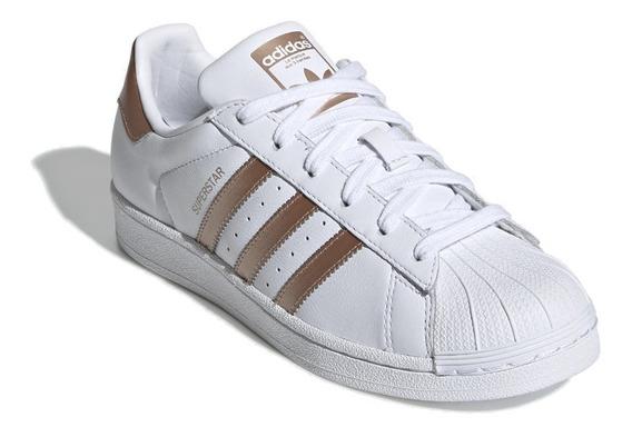 Tenis adidas Superstar Branco Com Cobre