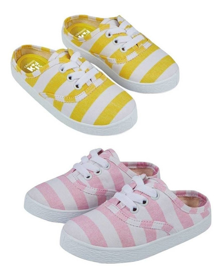 2paq Zapato Casual Textil Rayas Dttd393 Niña Flat