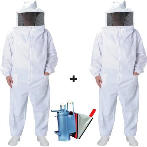 2 Macacão De Brim Apicultura E Fumigador Para Fumaça Abelha