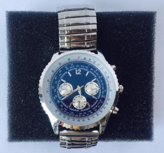 Reloj Acero Inoxidable Pulsera Caballero Elástico Cronografo