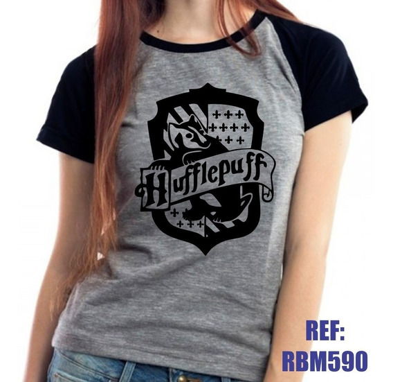 Camiseta Raglan Baby Look Harry Potter Lufa-lufa Mescla