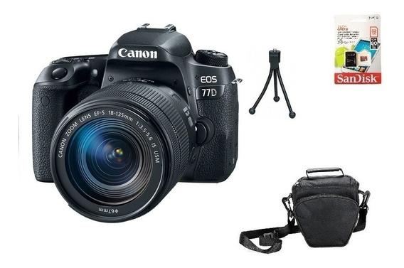 Canon 77d 18-135mm Aps-c 24.2mp Wifi 32gb Bolsa Tripé Novo