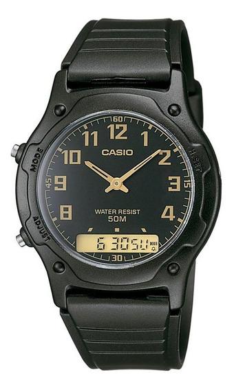 Relógio Casio Unissex Preto Anadigi Aw-49h-1bvdf