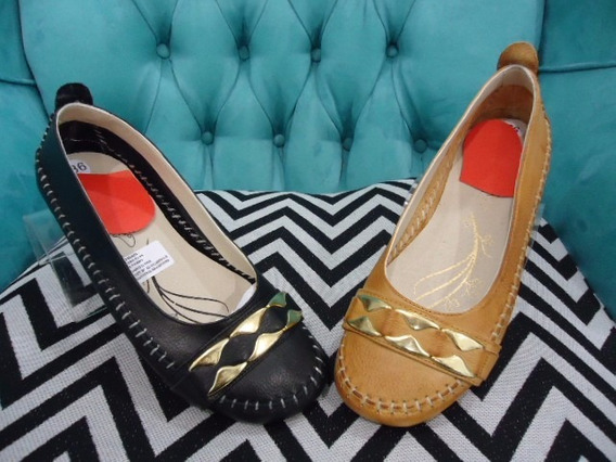 Chatitas Ballerinas Zapatos Mujer Cuero Aplique Dorado