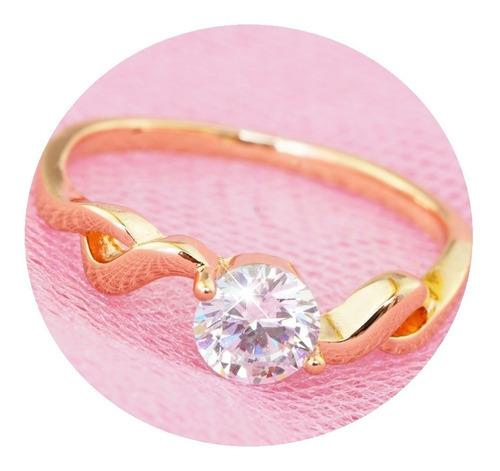 Imagen 1 de 9 de Anillos Compromiso Oro 18k Diamante Regalo Princesa Zirconia
