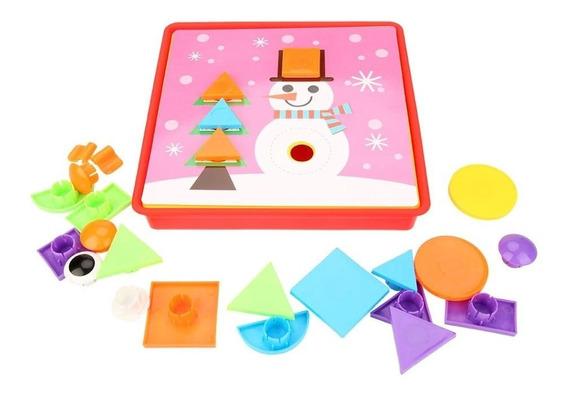 Brinquedo Educativo Infantil Com Botões Geométricos Criativo