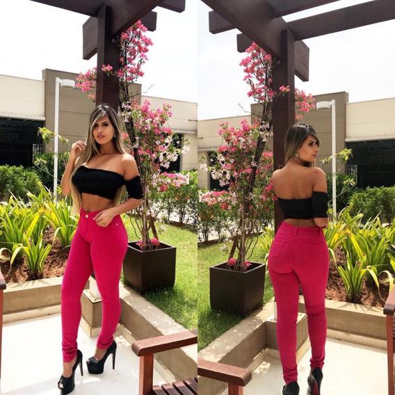 Calça Feminina Jeans Rasgada Cintura Alta Lycra Skinny Rosé