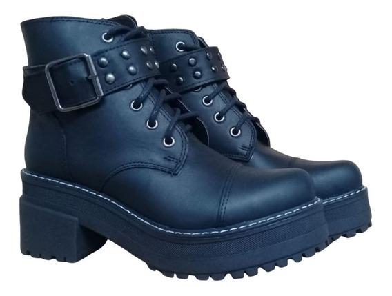 Bota Zapato Dama Cuero Savage Botineta Cordones Mujer
