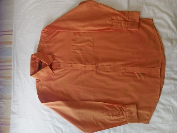 Camisa Manga Larga Talla Xl Import Naranja Faccnable Fashion