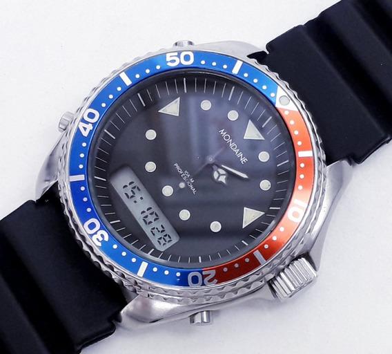 Relógio Mondaine Diver Submarino Pepsi Ana Digi Década De 80