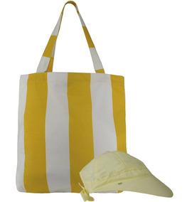 Bolsa Viseira Amarela Sacola Listra Branca Grande Boné