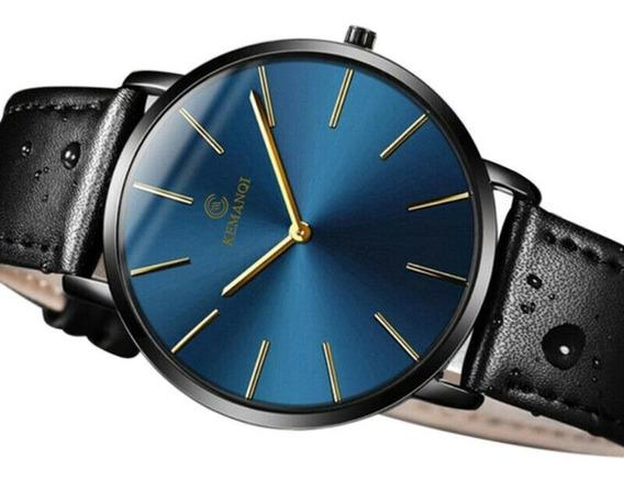 Relógio De Pulso Kemanqi Original - Fundo Azul