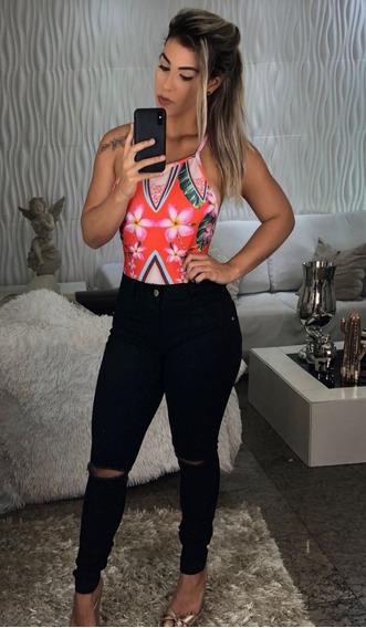 Calça Jeans Preta Moda Blogueira Rasgadinha No Joelho