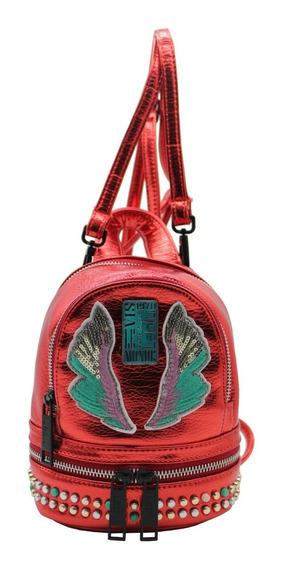 Mochila Mini Morral Mujer Urbana Cuero Pu Rojo Leblu C9174