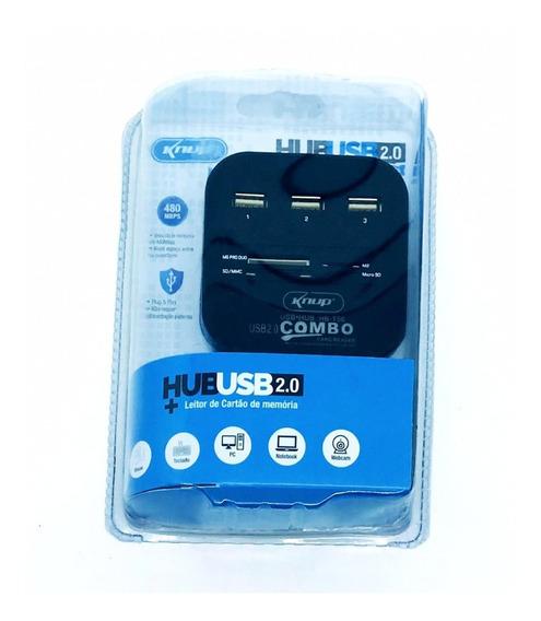 5 Hub Usb 2.0 3 Portas Leitor De Cartão De Memória Hb-t58 At