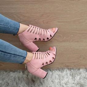 Zapatos Sandalia De Tacon Color Palo De Rosa