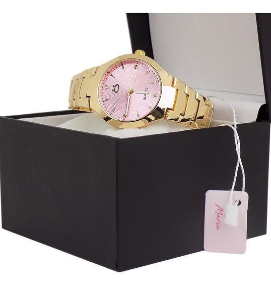 Relógio Feminino Orizom Analógico Dourado Lindo Liquidação