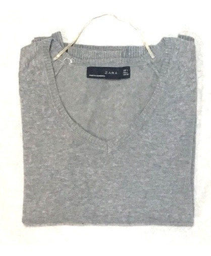 Sweter Zara Gris Hilo Talle L Impecable