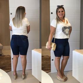 Bermuda Shorts Jeans Plus Size Grande Cintura Alta C/ Lycra
