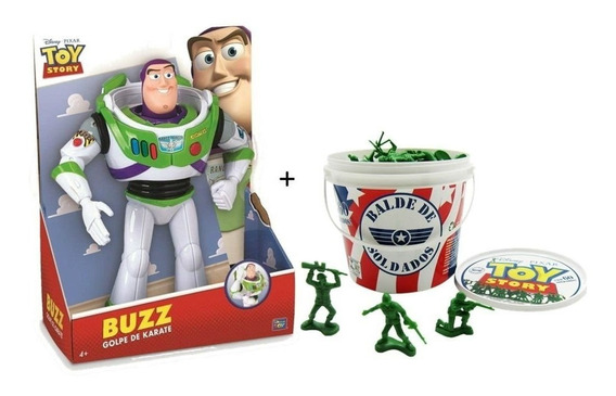 Kit Toy Story Boneco Buzz Lightyear + Balde De Soldados