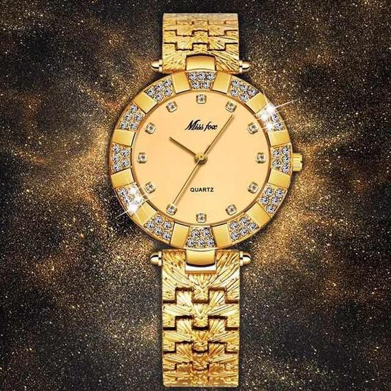 Relógio Feminino Dourado Miss Fox Feminino