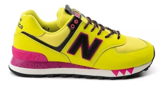 Tenis New Balance 574 Mujer Dama Deportivos Correr Amarillos