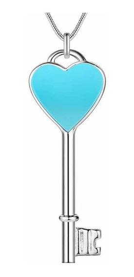 Colar Corrente Coração Chave Cor Azul
