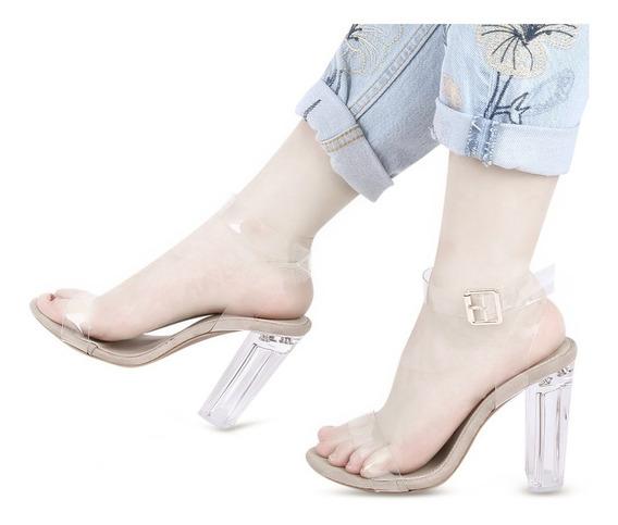 Sandalias Transparentes Tacón Cuadrado Para Mujer