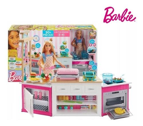 Muñeca Barbie Chef Kitchen Cocina Con Accesorios Sonidos Luz