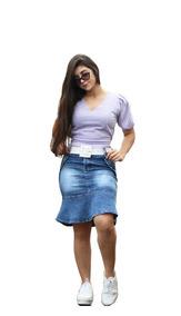 Roupas Femininas Saia Secretária Jeans Moda Evangélica 064