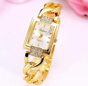 Relógio Mostrador Quadrado Luxo Pulseira Corrente Grossa