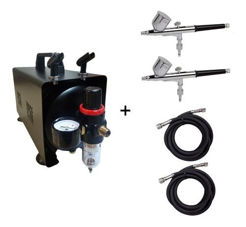 Mini Compressor Para 2 Aerografos + 2 Aerógrafo+ 2 Mangueira