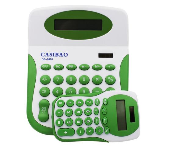 2 Calculadoras Grande E Pequena Digital De Mesa 8 Digitos