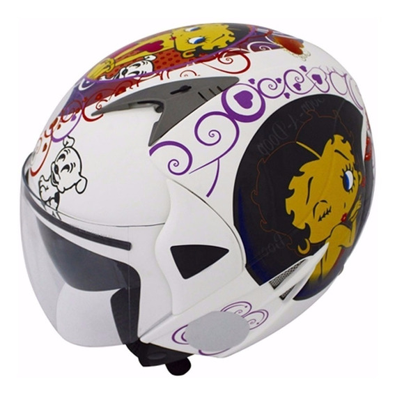 Capacete Nasa Sh-70 Betty Boop Branco Original!