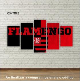 Quadro Flamengo Times Canvas Em Tela 5 Peças