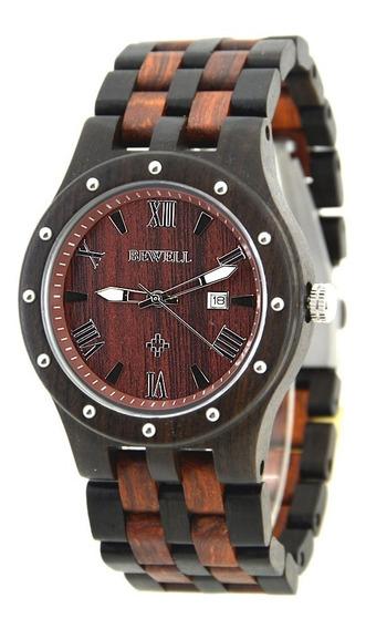 Relógio Madeira Bewell Original Preto E Marrom Avermelhado