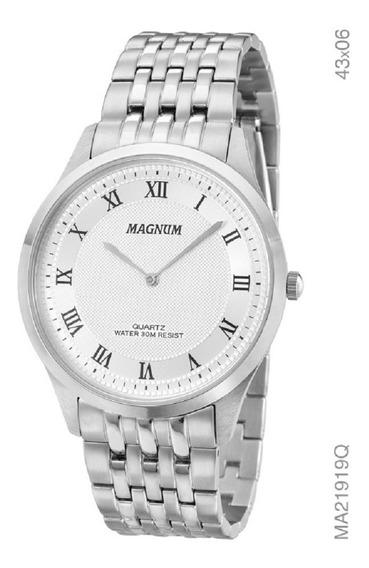 Relógio Magnum Masculino Slim Ma21919q Prata Analogico