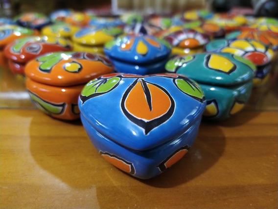15 Mini Joyero Artesanal, De Corazón Con Acabado En Talavera