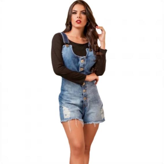 Macacão Curto Jardineira Short Jeans Feminina Botões 008