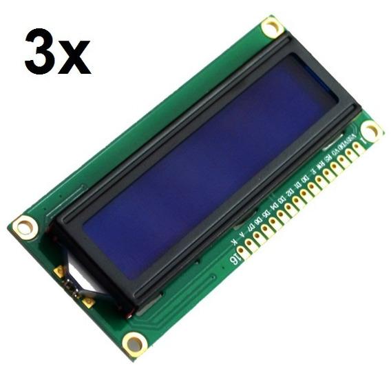 3x Display Lcd 16x2 1602 Com Fundo Azul E Blacklight Arduino