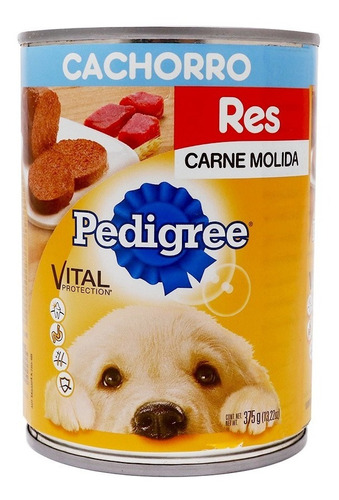 Imagen 1 de 2 de Alimento Pedigree Cachorro Molida Res Lata 375 Gr
