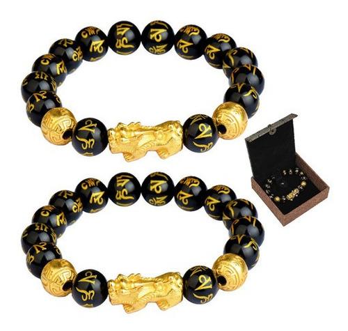 Imagen 1 de 8 de Pulsera Feng Shui 6 Piezas Lucky Fortune Obsidian