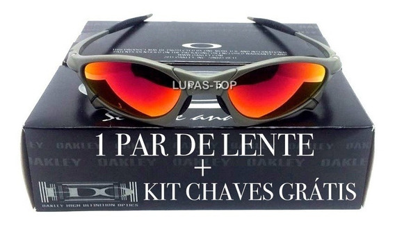 Oculos Oakley Penny Xmetal Fire Red+ Lente Extra+ Kit Chaves