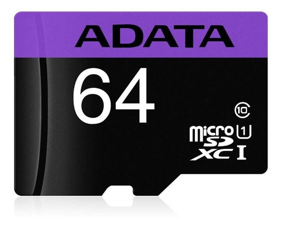 Kit 02 Cartão Memória Micro Sd A-data 64gb + 1 Adpt. Cl 10