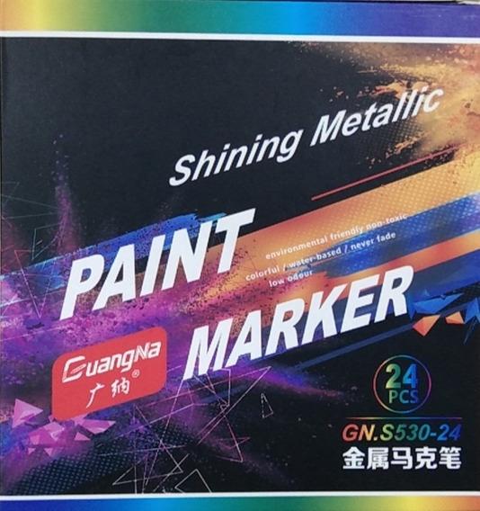 24 Colores Marcador Metal 0.7 Mm Pintura Fina Resaltador